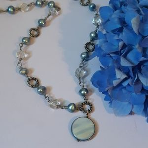 925 silver pearl and clear quartz necklace